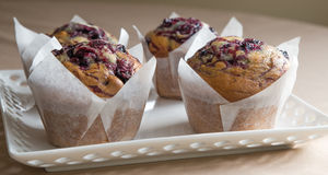 Drie Bosbessenmuffins op Cakeplaat Stock Foto