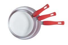 Drie bradend Pan Set - Voorraadbeeld Royalty-vrije Stock Afbeelding