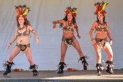 Drie Braziliaanse sambadansers die levendige prestaties geven royalty-vrije stock afbeeldingen