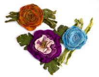 Drie broches van felted wol Stock Foto's