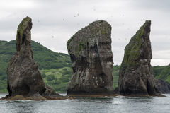 Drie Broersrotsen in Avacha-Baai Kamchatka Stock Afbeelding