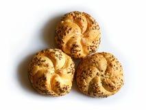Drie broodjes met zaden Royalty-vrije Stock Fotografie