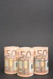 Drie broodjes van euro geld royalty-vrije stock afbeelding