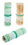 Drie Broodjes van Euro Rekeningen Stock Foto's
