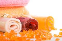 Drie broodjes van zeep met handdoek Royalty-vrije Stock Afbeelding