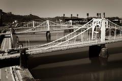Drie bruggen en één Rivier Stock Afbeeldingen