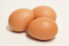 Drie Bruine Eieren Stock Fotografie