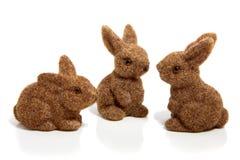 Drie bruine Pasen konijntjes Royalty-vrije Stock Fotografie