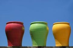 Drie Ceramische Potten Stock Fotografie