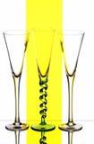 Drie champagnefluiten Royalty-vrije Stock Foto's