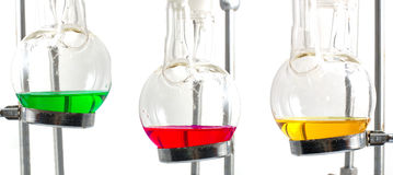 Drie chemieexperiment Stock Foto