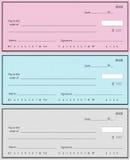 Drie cheques Stock Fotografie