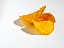 Drie chips op wit Stock Afbeelding