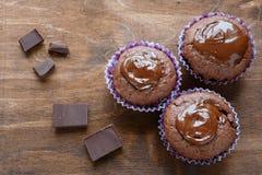 Drie chocolade Cupcake Stock Fotografie