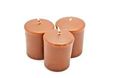 Drie chocoladekaarsen royalty-vrije stock foto's