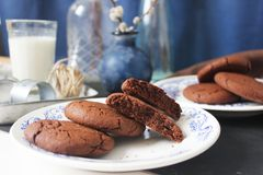 Drie chocoladekoekjes Stock Foto