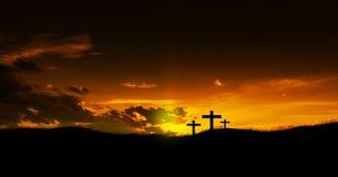 Drie christelijke Kruisen stock foto