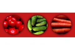 Drie cirkelshoogtepunt van verse groenten Stock Afbeelding