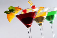 Drie cocktails Royalty-vrije Stock Foto's