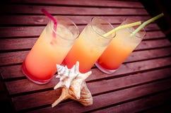 Drie cocktails van de tequilazonsopgang Stock Foto