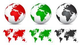 Drie 3D Bollen met Wereldkaarten - vector vector illustratie