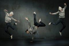 Drie dansers van de heuphop Stock Afbeeldingen