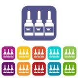 Drie de flessenpictogrammen van de tatoegeringsinkt geplaatst vlak royalty-vrije illustratie