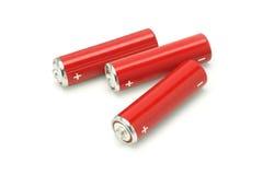 Drie de groottebatterijen van aa Royalty-vrije Stock Foto