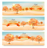 Drie de herfst abstracte banners met kleurrijke bladeren Stock Afbeelding