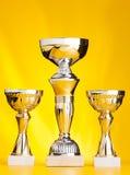 Drie de komprijzen van de winnaarkop op gouden achtergrond royalty-vrije stock foto