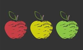 Drie in de schaduw gestelde appel Royalty-vrije Stock Afbeelding