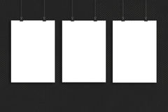 Drie de spot van de Witboekaffiche omhoog, Muurspot omhoog Stock Fotografie