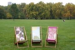 Drie Deckchairs Royalty-vrije Stock Fotografie