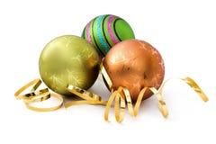 Drie decoratie van Kerstmis Stock Afbeeldingen