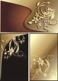 Drie decoratieve bloemenkaarten Royalty-vrije Stock Afbeelding