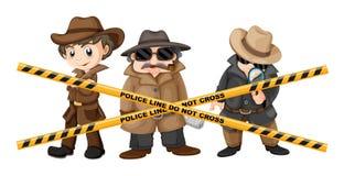 Drie detectives die aanwijzingen zoeken royalty-vrije illustratie
