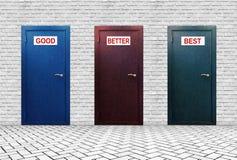 Drie deuren voor Goede Beter en Best stock foto