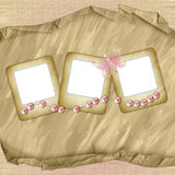 Drie dia's voor foto met roze vlinder   Royalty-vrije Stock Foto's