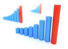 Drie diagrammen in Blauwe en rode geïsoleerde kleur Stock Fotografie