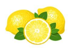 Drie die citroenen op wit worden geïsoleerde. stock illustratie