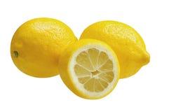Drie die citroenen, op witte achtergrond worden geïsoleerd Stock Afbeeldingen