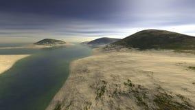 Drie die heuvels met zand worden en door water worden omringd uitgestrooid die Royalty-vrije Stock Afbeeldingen