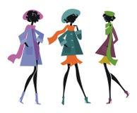 Drie vrouwen in sjaals Stock Foto