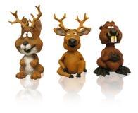 Drie dierlijke beeldjes (klemweg) Stock Foto