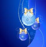 Drie donkerblauwe ballen Stock Illustratie