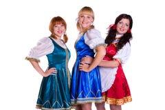 Drie Duitse/Beierse vrouwen Stock Foto