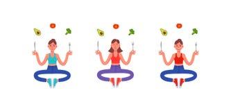 Drie dunne vrouwen die in de lotusbloempositie zitten met een vork en een mes in hun handen en rond hen een gezonde maaltijd Avoc stock illustratie
