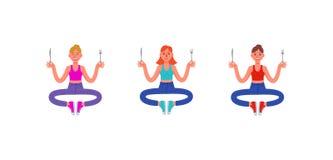 Drie dunne vrouwen zitten met een vork en een mes in hun handen Reeks hongerige vrouwen Vector illustratie vector illustratie
