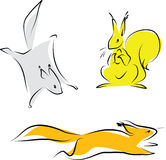Drie eekhoorns Royalty-vrije Stock Afbeeldingen