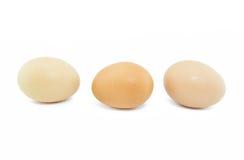 Drie eieren die op witte achtergrond worden geïsoleerd Royalty-vrije Stock Foto's